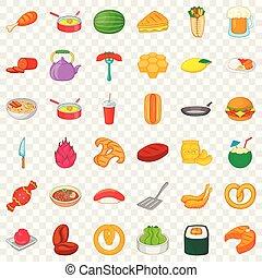 Dinner icons set, cartoon style