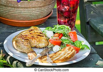 Dinner in the garden during summer