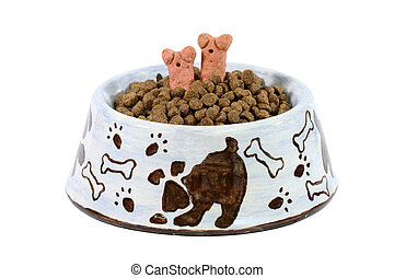 Dinner is Served! - Isolated dog dish with dog food and...