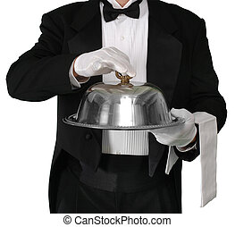 Waiter with tray about to lift the silver catering dome, isolated on white with a clippint path