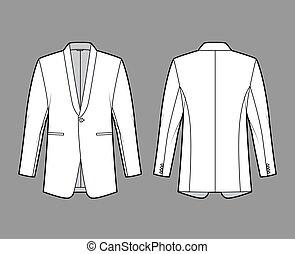 Dinner jacket tuxedo suit technical fashion illustration with long sleeves, shawl lapel collar, welt pocket, regular cut