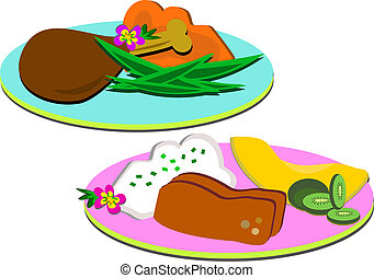 Dinner Meals on Plates - Here are two plates of delicious ...