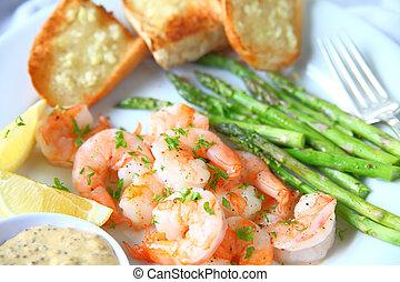 Dinner of shrimp and garlic bread