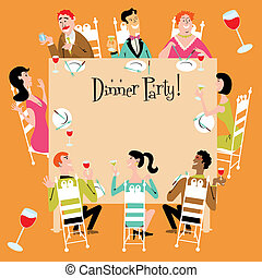 Dinner Party Invitation with a variety of men, women, ...