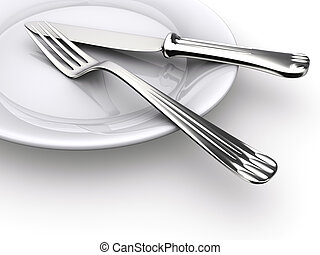 A dinner plate, knife and fork - rendered in 3d