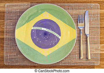 Dinner plate for Brazil - Dinner plate with the flag of...