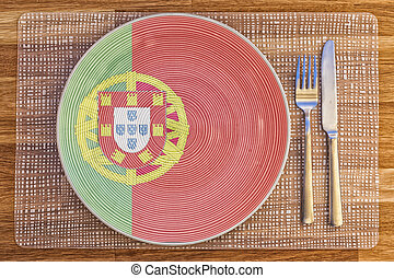 Dinner plate for Portugal - Dinner plate with the flag of...