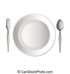 Dinner plate, fork and spoon. Vector illustration