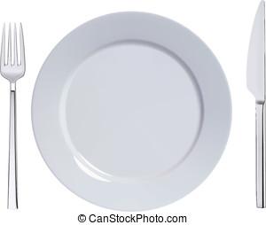 Dinner plate, knife and fork