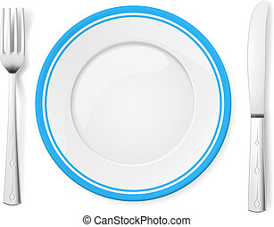 Dinner plate, knife and fork