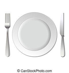 Dinner plate, knife and fork. Vector.