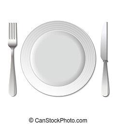 Dinner plate, knife and fork. Vector.