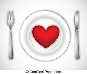 dinner plate - romantic dinner over gray background. vector...