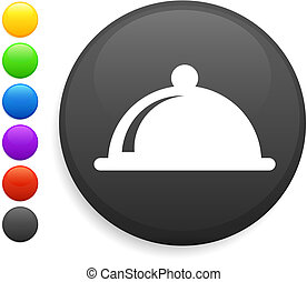 dinner platter icon on round internet button original vector...