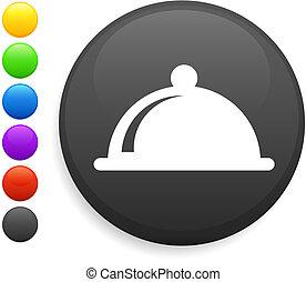 dinner platter icon on round internet button original vector...