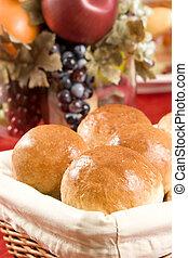 Homemade dinner rolls in a basket
