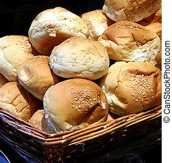 Dinner rolls in a basket in restaurant buffet