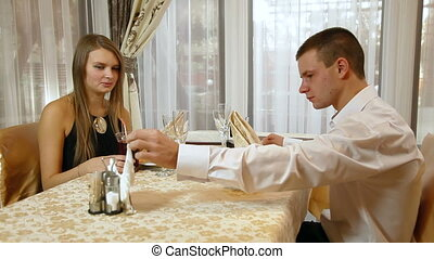 Dinner - Romantic couple having dinner