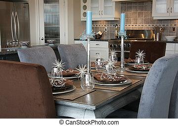 Dinner table - Elegantly set dinner table.