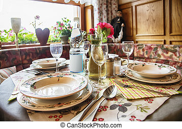 dinner table in country side cafe