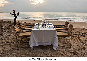 dinner table on the beach at Thailand