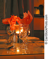 Dinner table setting at the restaurant