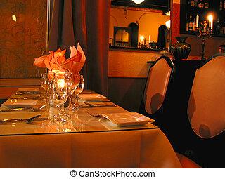 Dinner table setting at the restaurant