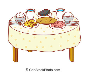 dinner table clipart. dinner table - a with lot of food on it clipart i