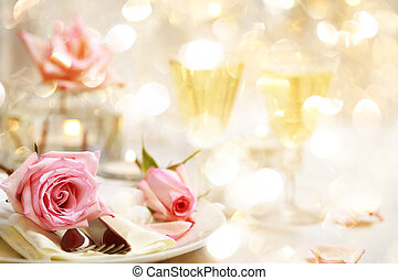 Dinner table with beautiful pink roses - Decorated dinner...