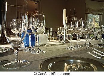 Dinner Table With Wine Glasses - A formal dinner table set...