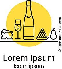 dinner:, verre champagne, dégustation, illustration, ton, poire, vecteur, icons., raisins, fête, logo, bouteille, ou, fromage, illustration.