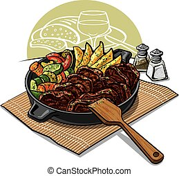 dinner with roasted meat