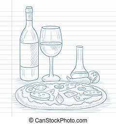 Dinner with wine and pizza.