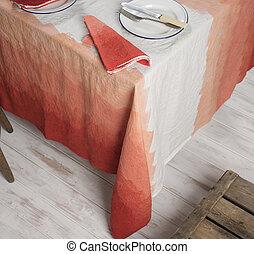 dinnerware, és, szalvéta, képben látható, asztal, befedett, alatt, gradiens, narancs, cikcakkos, fehérnemű