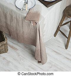 dinnerware, képben látható, asztal, befedett, alatt, gradiens, barna, fehérnemű, mellett, széklet