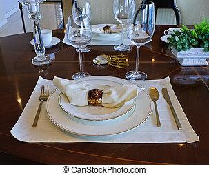 Dinnerware - Table setting of dinnerware