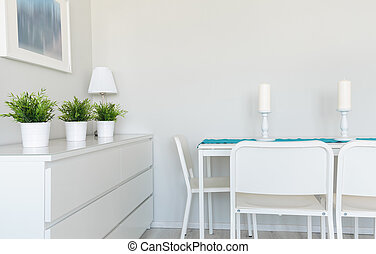 Dinning table in contemporary room - Image of contemporarily...