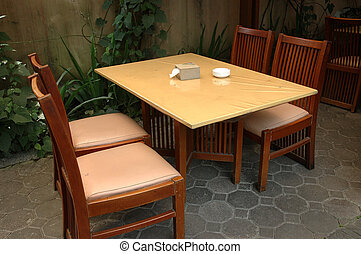 dinning table that used in modern cafe interior room