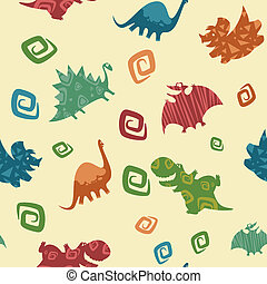 Dino Baby pattern - Vector image of dino baby seamless...