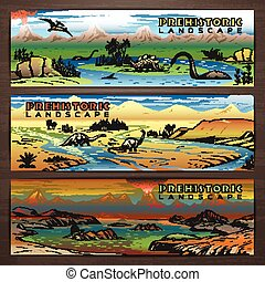 Prehistoric theme vector banner design with pristine landscape, carnivorous dinosaurs and ancient plants. Brochure, flyer, booklet, postcard template for product promotion and advertising