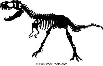 Dino bones silhouette - Tyrannosaurus Skeleton Silhouette