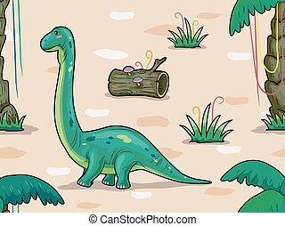 Dino Brontosaurus Seamless Background