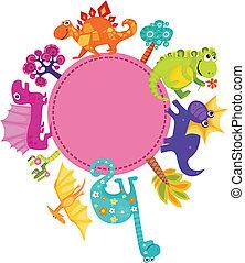 dino card - vector illustration of a cute dino card