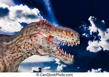 dino, cielo, gigantosaurus, asustadizo, oscuridad