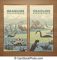 Prehistoric theme vector card design with pristine landscape, carnivorous dinosaurs and ancient plants. Brochure, flyer, booklet, postcard template for product promotion and advertising