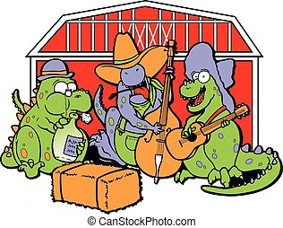 3 cartoon dinosaurs dressed as hillbillys playing hillbilly, blue grass music in front of a barn on hay bales