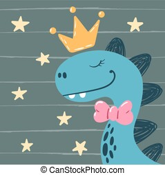 Dino, little princess - cute characters. Ide for print t-shirt.