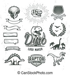 Dino logo maker set. Dinosaur logotype creator. Vector T-rex banner template. Jurassic period laurel crest illustration. Shield insignia concept design. Cretaceous world badge or label collection