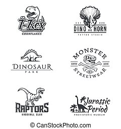Dino logo set. Dinosaur logotype. Raptor sport mascot design. Vector T-rex label template. Jurassic period illustration. Dino park insignia concept. Ancient world badge collection