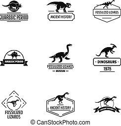 Dino logo set, simple style